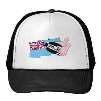 Fiji Flag Rugby Ball Pass Cartoon Hands Trucker Hat