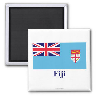 Fiji Flag with Name 2 Inch Square Magnet