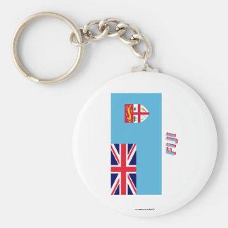 Fiji Flag with Name Basic Round Button Keychain