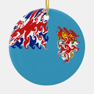 Fiji Gnarly Flag Double-Sided Ceramic Round Christmas Ornament