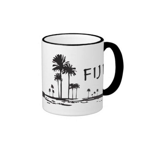 Fiji - Graphic Palm Trees Ringer Coffee Mug