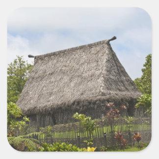 Fiji, isla de Viti Levu. Cultural polinesio Pegatina Cuadrada