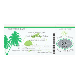 Fiji Islands Boarding Pass Wedding 4x9.25 Paper Invitation Card