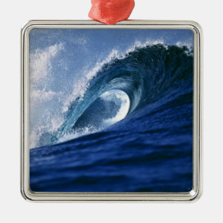 Fiji Islands, Tavarua, Cloudbreak. A wave Square Metal Christmas Ornament