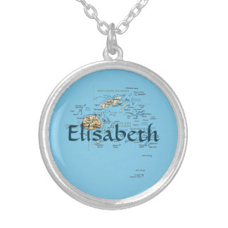 Fiji Map + Name Necklace