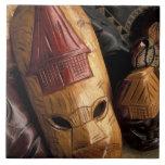 Fiji, máscaras de Viti Levu en un mercado de la ci Tejas Ceramicas