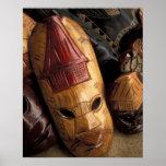 Fiji, máscaras de Viti Levu en un mercado de la ci Posters