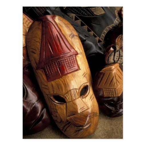 Fiji, máscaras de Viti Levu en un mercado de la ci Tarjetas Postales