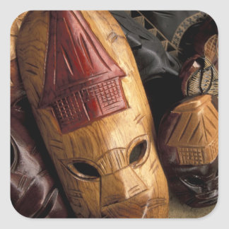 Fiji, máscaras de Viti Levu en un mercado de la Pegatina Cuadrada