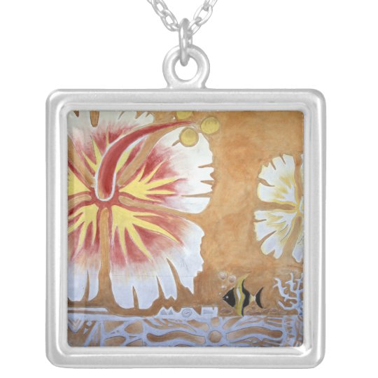 Fiji, mural art. silver plated necklace