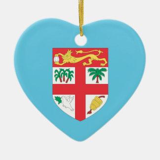 Fiji Double-Sided Heart Ceramic Christmas Ornament