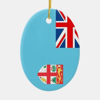 Fiji Double-Sided Oval Ceramic Christmas Ornament