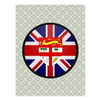 Fiji quality Flag Circle Postcard
