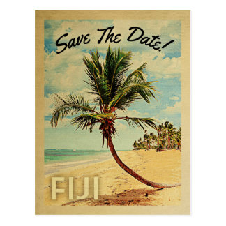 Fiji Save The Date Vintage Beach Palm Tree Postcard