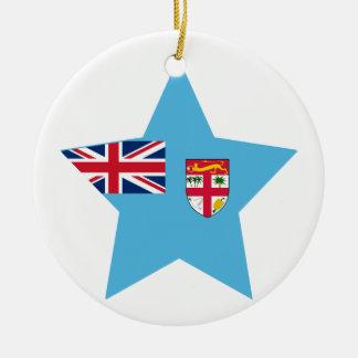 Fiji Star Double-Sided Ceramic Round Christmas Ornament