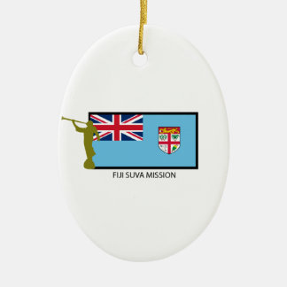 FIJI SUVA MISSION LDS CTR Double-Sided OVAL CERAMIC CHRISTMAS ORNAMENT