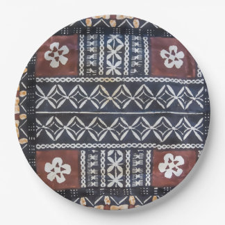 Fiji Tapa Cloth Print Paper Plates
