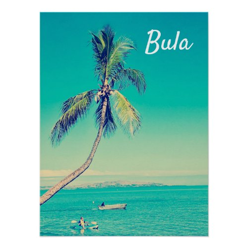 Fiji tropical bula palm trees retro travel print