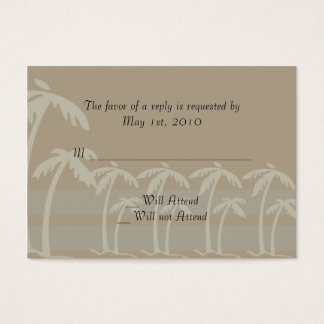 Fiji: Tropical Palm Trees in Taupe, Creme, Blue Business Card