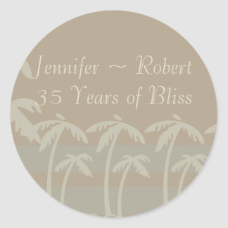 Fiji: Tropical Palm Trees in Taupe, Creme, Blue Classic Round Sticker