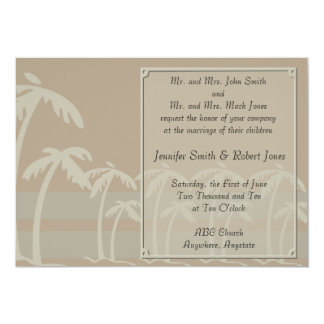 Fiji: Tropical Palm Trees in Taupe, Creme, Blue 5x7 Paper Invitation Card