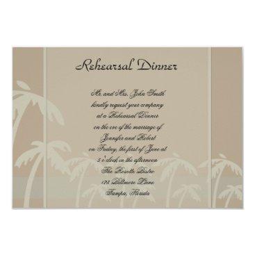 Beach Themed Fiji: Tropical Palm Trees Taupe Wedding Rehearsal Card