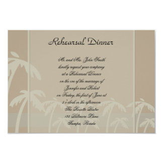 Fiji: Tropical Palm Trees Taupe Wedding Rehearsal 3.5x5 Paper Invitation Card