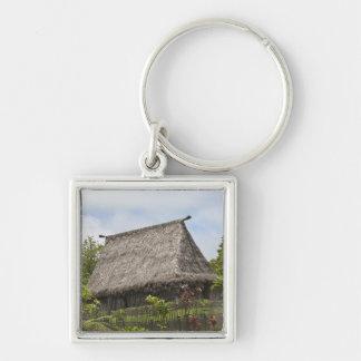 Fiji, Viti Levu Island. Polynesian Cultural Silver-Colored Square Keychain