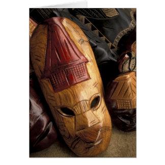 Fiji, Viti Levu Masks at a town market. Card