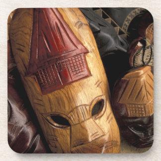 Fiji, Viti Levu Masks at a town market. Drink Coaster