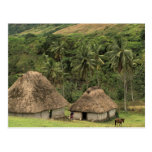 Fiji, Viti Levu, Navala, casas tradicionales de Bu Postales