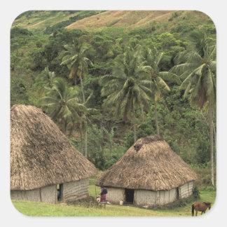 Fiji, Viti Levu, Navala, casas tradicionales de Pegatina Cuadrada