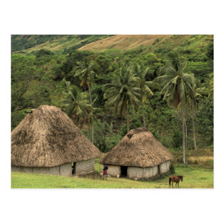 Fiji, Viti Levu, Navala, casas tradicionales de Postal