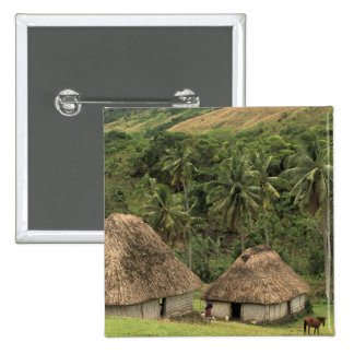 Fiji, Viti Levu, Navala, Traditional Bure houses 2 Inch Square Button