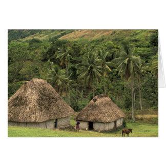 Fiji, Viti Levu, Navala, Traditional Bure houses Card