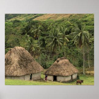 Fiji, Viti Levu, Navala, Traditional Bure houses Poster