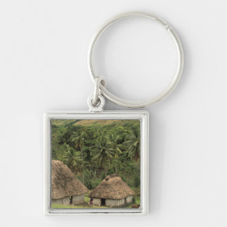 Fiji, Viti Levu, Navala, Traditional Bure houses Silver-Colored Square Keychain