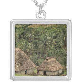 Fiji, Viti Levu, Navala, Traditional Bure houses Square Pendant Necklace