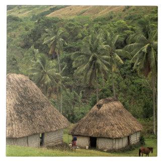 Fiji, Viti Levu, Navala, Traditional Bure houses Large Square Tile