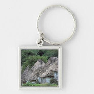 Fiji, Viti, Traditional hut houses. Silver-Colored Square Keychain