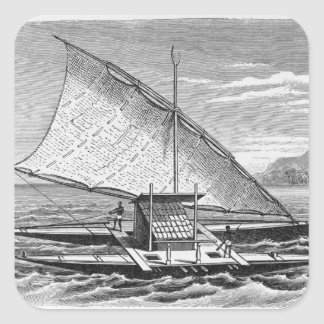 Fijian double canoe from The History of Square Sticker