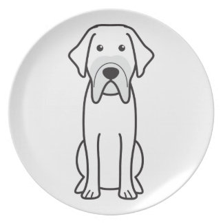 Fila Brasileiro Dog Cartoon Plates