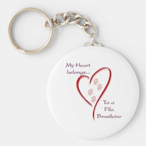 Fila Brasileiro Heart Belongs Key Chains