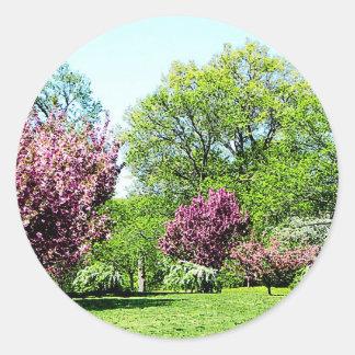 Fila de árboles florecientes pegatina redonda