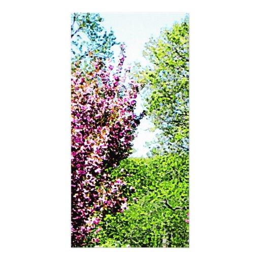 Fila de árboles florecientes tarjetas fotográficas