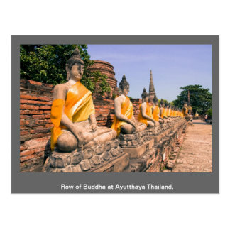 Fila de Buda en Ayutthaya Tailandia Tarjeta Postal