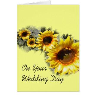 Fila de girasoles su tarjeta del día de boda