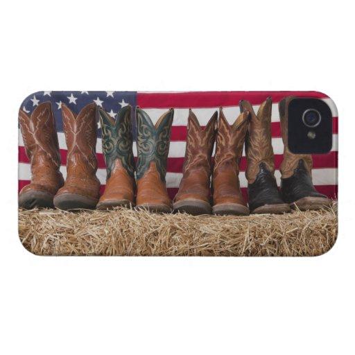 Fila de las botas de vaquero en haystack carcasa para iPhone 4 de Case-Mate