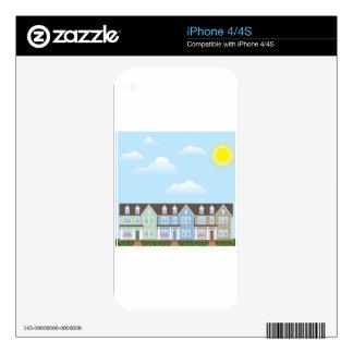 Fila de las casas urbanas con vector soleado del iPhone 4 skins