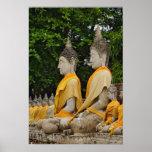 Fila de las estatuas de Buda, Chaya Mongkol de Wat Posters
